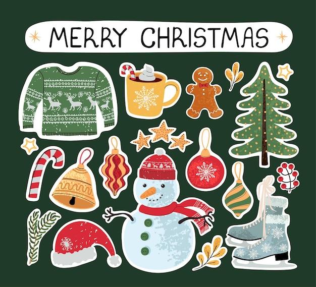 Conjunto colorido moderno de vetor com ilustrações de doodle de mão desenhada de objetos de natal e letras, adesivos. use-o como elementos de design de cartões, cartaz, cartão, design de papel de embalagem
