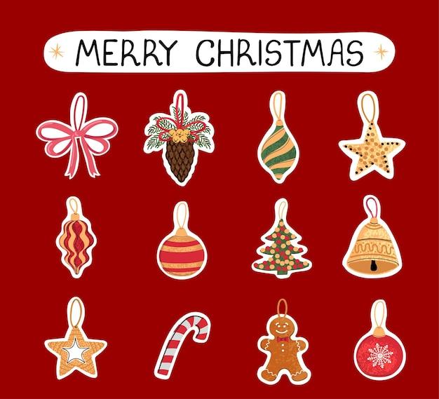 Conjunto colorido moderno de vetor com ilustrações de doodle desenhado à mão de brinquedos de natal, adesivos. use-o como elementos de design de cartões, cartaz, cartão, design de papel de embalagem