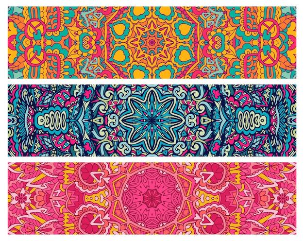 Conjunto colorido psicodélico étnico sem costura padrão