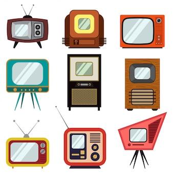 Conjunto colorido vintage de televisão