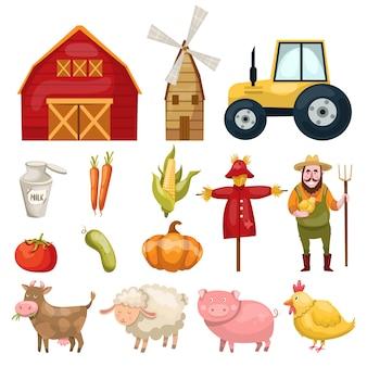 Conjunto com abundância de símbolos de fazenda isolada colorida edifícios animais personagens alimentos naturais e vegetais orgânicos