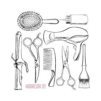 Conjunto com acessórios de cabeleireiro. ilustração desenhada à mão