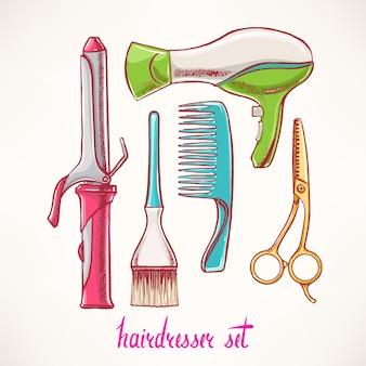 Conjunto com acessórios de cabeleireiro. ilustração desenhada à mão -
