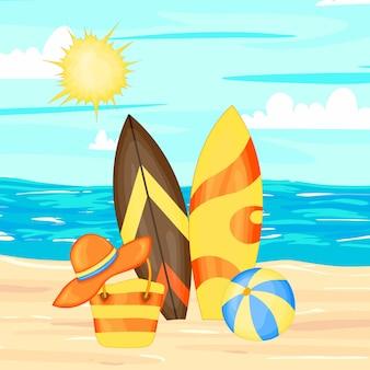 Conjunto com acessórios de praia e pranchas de surf. estilo de desenho animado.