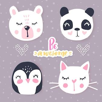 Conjunto com animais dos desenhos animados panda, gato, urso, coelho. animais adoráveis e inscrições.