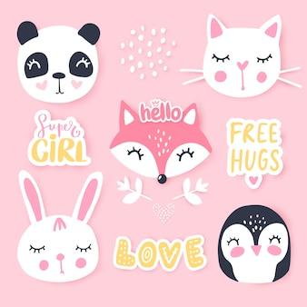 Conjunto com animais dos desenhos animados panda, pinguim, gato, raposa, coelho.