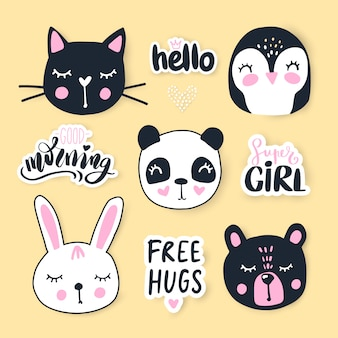 Conjunto com animais dos desenhos animados - urso, panda, coelho, pinguim, gato.