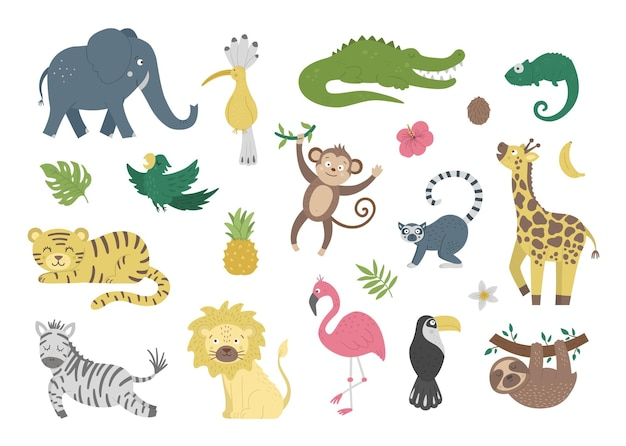 Conjunto com animais exóticos fofos