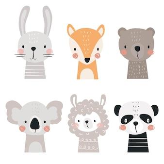Conjunto com animais fofos lhama raposa urso coala panda e lebre em um fundo branco.