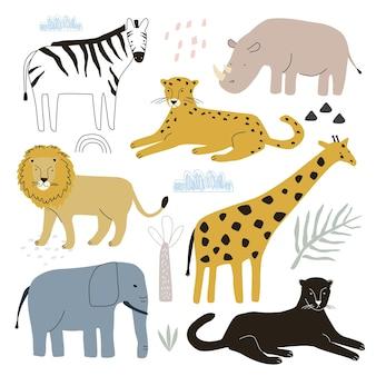 Conjunto com animais leopardo girafa leão zebra e rinoceronte em um fundo branco.