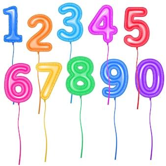Conjunto com balões coloridos em forma de números