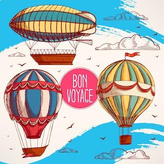 Conjunto com balões coloridos vintage voando no céu, nuvens e pássaros