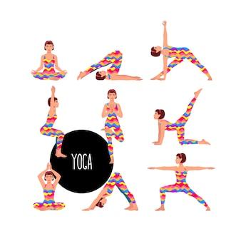 Conjunto com bela mulher exercitando ioga. poses de ioga diferentes.