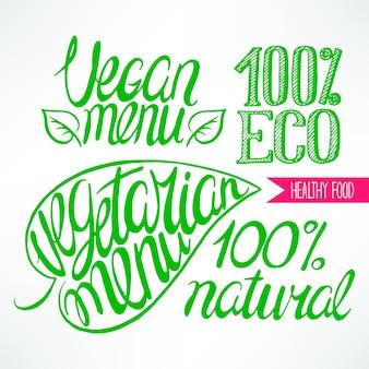 Conjunto com belos títulos orgânicos verdes. ilustração desenhada à mão