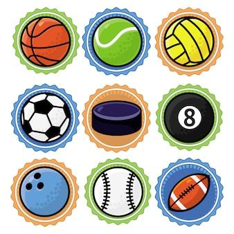 Conjunto com bolas de esporte