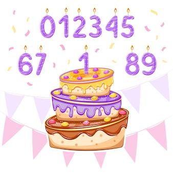Conjunto com bolo de aniversário e velas de idade para aniversário de menino, cartão do chuveiro de bebê, banners, desenhos de cartazes. ilustração.