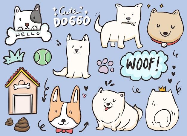 Conjunto com cães bonitos, osso e pata. criança cartoon desenho com ilustração de poses de cachorro