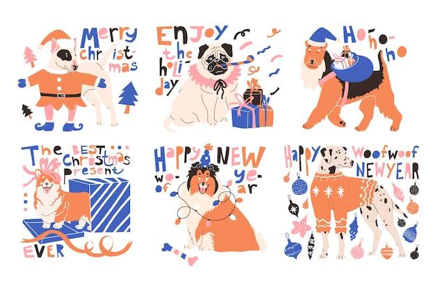 Conjunto com cães em trajes festivos e citações de saudação comemorando o natal e o novo ano.