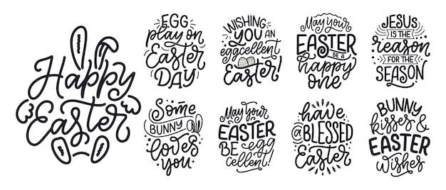 Conjunto com caligrafia letras slogans sobre páscoa para panfleto e impressão.