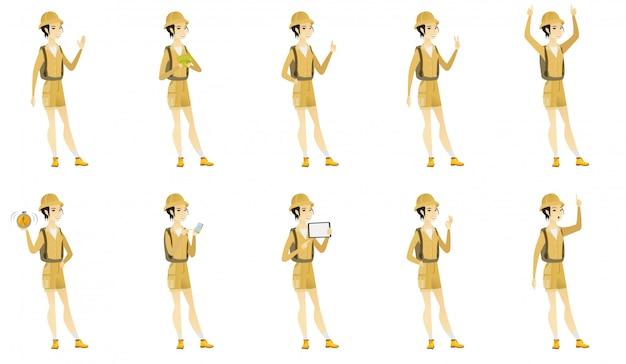 Conjunto com caracteres de viajante.
