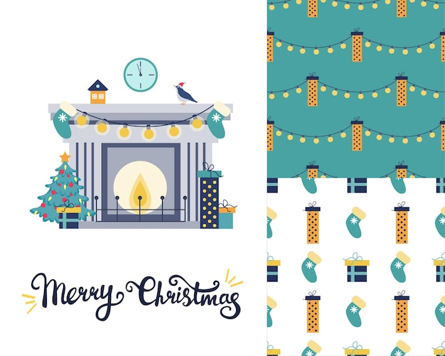 Conjunto com cartão de natal lareira com árvore de natal e presentes dois padrões festivos