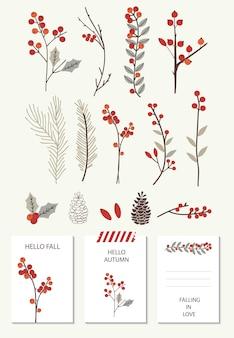 Conjunto com cartões de outono e florais.