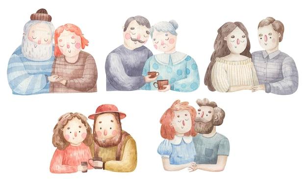 Conjunto com casais apaixonados, avó e avô