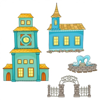 Conjunto com casas diferentes. esboços de casas e elementos arquitetônicos