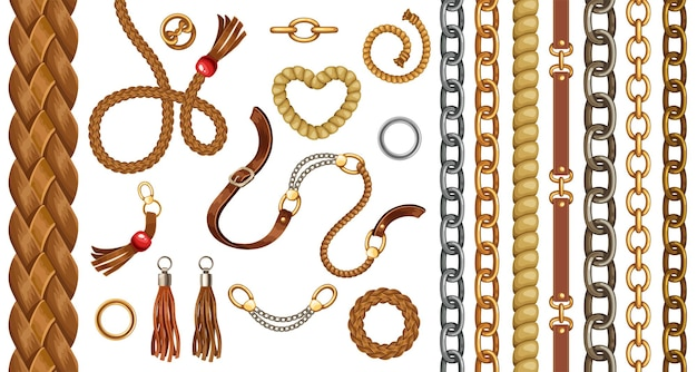 Conjunto com cintos e correntes de ouro e prata, franja