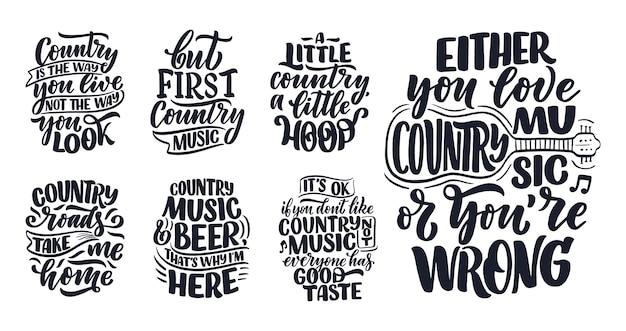 Conjunto com citações de letras de música country