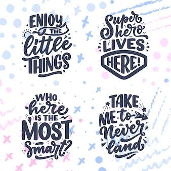 Conjunto com citações de letras desenhadas à mão em estilo de caligrafia moderna para sala de crianças