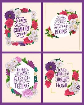 Conjunto com citações de letras desenhadas à mão no estilo de caligrafia moderna sobre slogans domésticos