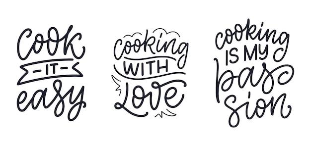 Conjunto com citações de letras desenhadas à mão no estilo de caligrafia sobre culinária