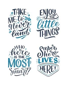 Conjunto com citações de letras desenhadas à mão para crianças