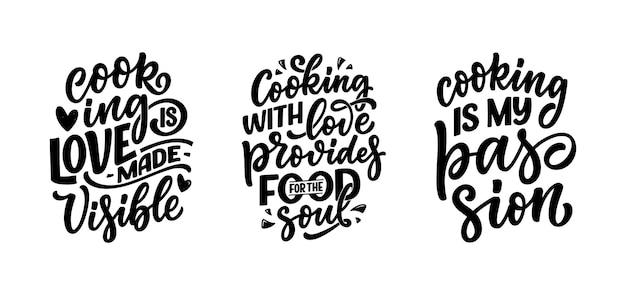 Conjunto com citações de letras desenhadas à mão sobre culinária