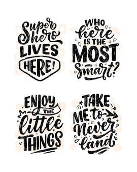 Conjunto com citações de letras em estilo de caligrafia moderna para sala de crianças