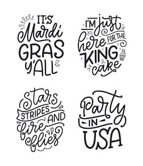 Conjunto com citações de letras engraçadas desenhadas à mão sobre o carnaval