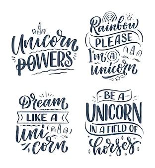 Conjunto com citações de letras engraçadas desenhadas à mão sobre unicórnio