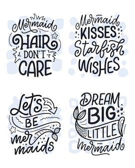 Conjunto com citações de letras engraçadas mão desenhada sobre sereia. frases legais.