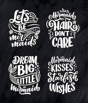 Conjunto com citações de letras engraçadas mão desenhada sobre sereia.