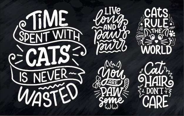 Conjunto com citações de letras engraçadas sobre gatos para impressão na mão desenhada estilo