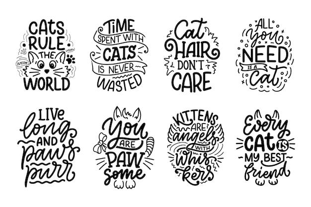 Conjunto com citações de letras engraçadas sobre gatos para imprimir estilo desenhado na mão.