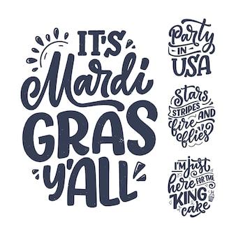 Conjunto com citações engraçadas de letras desenhadas à mão sobre frases legais de mardi gras