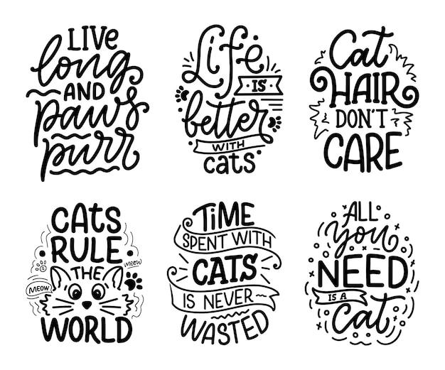 Conjunto com citações engraçadas letras sobre gatos na mão desenhada estilo