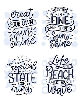 Conjunto com composições de letras de mão desenhada sobre o verão.