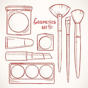 Conjunto com cosméticos decorativos femininos
