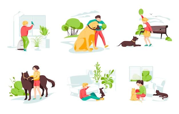 Conjunto com crianças cuidando de animais selvagens e de estimação
