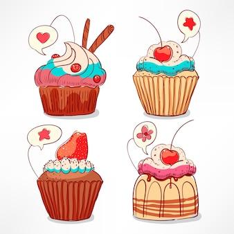 Conjunto com cupcakes fofos com creme e frutas vermelhas