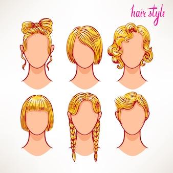 Conjunto com diferentes estilos de cabelo. loiras. ilustração desenhada à mão - 2