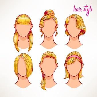 Conjunto com diferentes estilos de cabelo. loiras. ilustração desenhada à mão